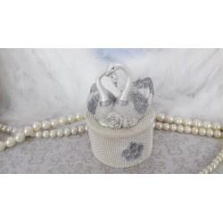 Marturii nunta caseta ceramica lebede