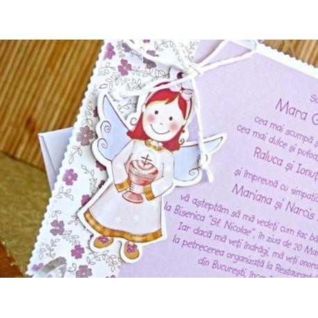 Invitatie De Botez Cu Ingeras Pentru Fetite Si Baieti