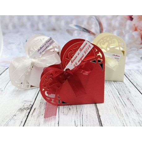 Marturie cutie inimioara carton