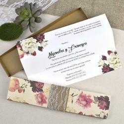 Invitatie nunta model floral cutie 39601
