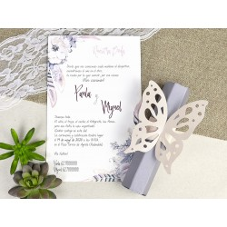 Invitatie nunta papirus fluture 39619