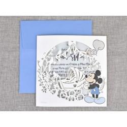 Invitatie botez decupaj laser Mickey 15710