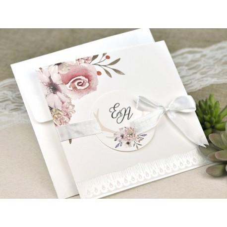 Invitatie De Nunta Eleganta 39632 Cu Flori In Stil Acuarela