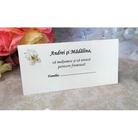 Plic de bani nunta cu fluturas lipit