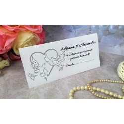 Plic de bani nunta cu pereche de porumbei si inimioara