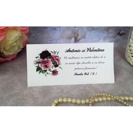 Plic de bani nunta cu buchet de trandafiri mare