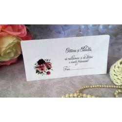 Plic de bani nunta cu buchet de trandafiri mic