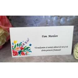 Plic de bani nunta cu buchet de flori colorate