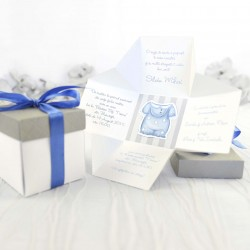 Invitatie botez cutie 3d baieti DC15512