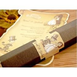 Invitatie nunta tip papirus comica 32732