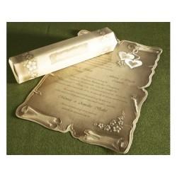 Invitatie nunta tip papirus cu inimi 30118