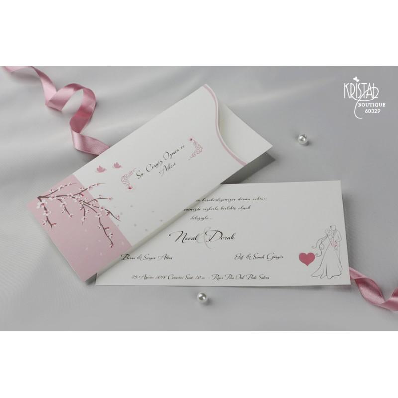 Invitatie De Nunta Romantica 60329 Cu Flori De Cires