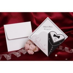 Invitatie nunta alb-negru 30074